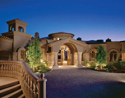 Architecture Single Story Tuscan Luxury Home Plan With