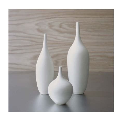 White Vase ships in 2 3 weeks trio of white ceramic bottle