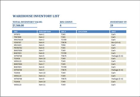 warehouse inventory list template word excel templates
