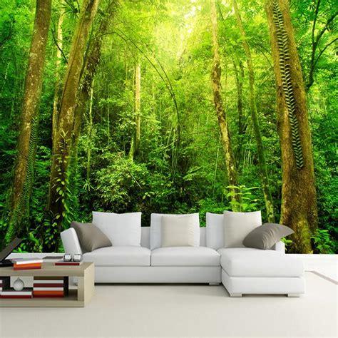 custom wallpaper mural sunshine forest tree landscape