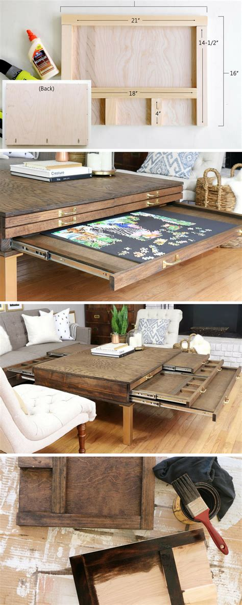 build  diy coffee table  pullouts  board games  project plan  homemade