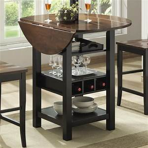 Ridgewood, Counter, Height, Drop, Leaf, Dining, Table, With, Storage, -black