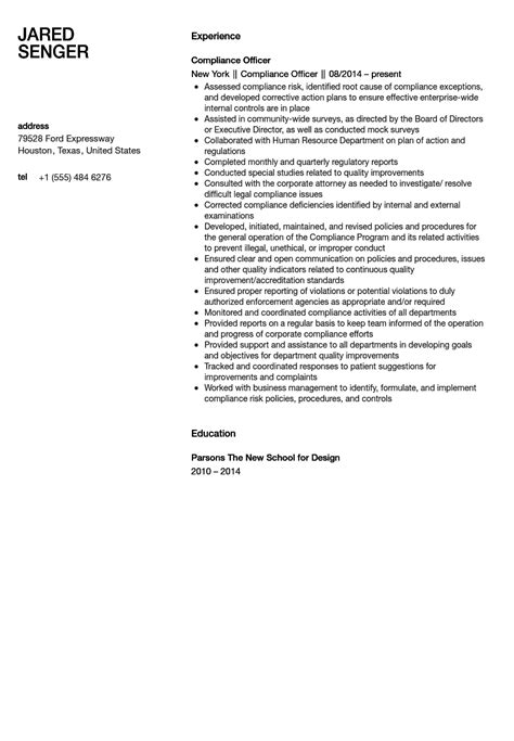 compliance officer resume sle velvet