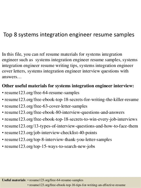 top 8 systems integration engineer resume sles