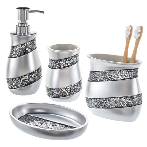 creative scents bathroom accessories 4 piece mosaic glass