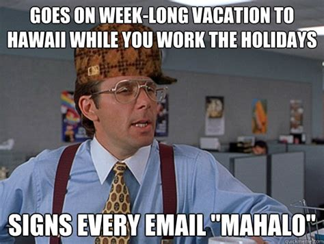 Hawaii Meme - goes on week long vacation to hawaii while you work the holidays signs every email quot mahalo
