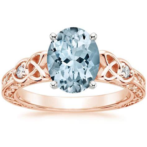 aquamarine aberdeen diamond ring in 14k rose gold