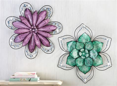 metal flower wall decor collections etc gemstone floral 3d metal wall ebay