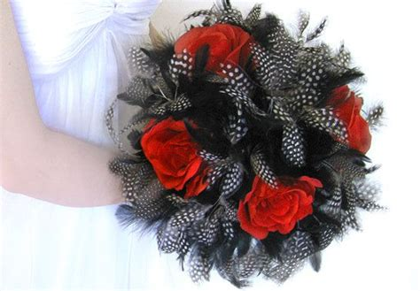 Bridal Bouquet Gothic Wedding Bouquet Red Black Feathers