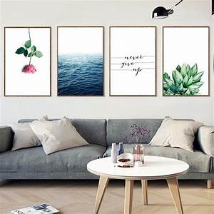 Sea, Flower, Inspirational, Quote, Canvas, Posters, Landscape, Canvas, Prints, Nordic, Painting, Wall