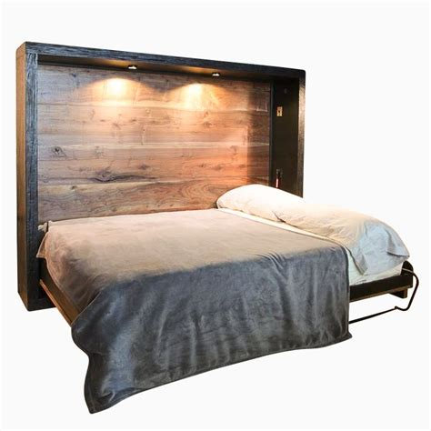 custom  reclaimed wood murphy bed  puddle town