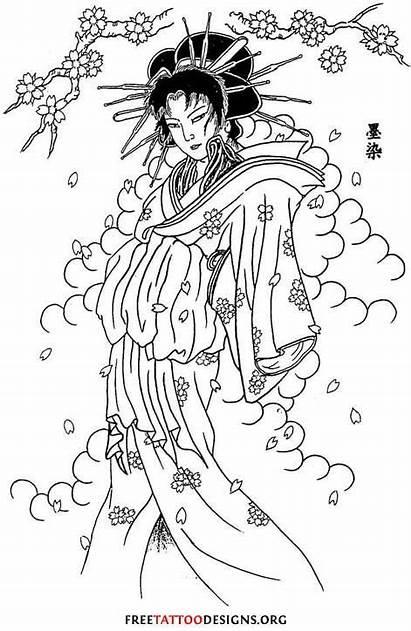 Geisha Tattoo Flash Blossom Cloud Stencil Cherry
