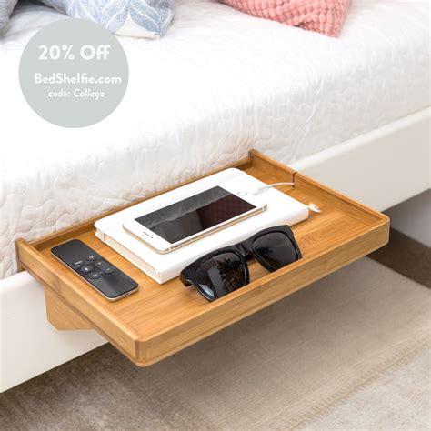 modern bamboo bedside shelf space saving floating