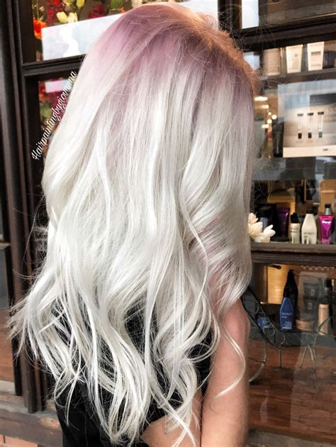 stunning platinum hair   subtle rose gold shadow root