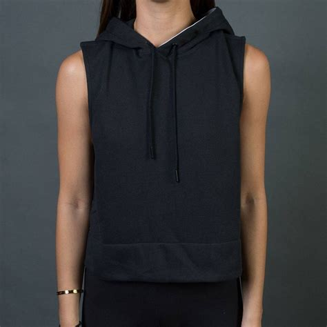 adidas women sleeveless pullover hoodie black