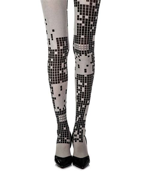 light grey opaque tights light grey opaque print tights quot game boy quot trendylegs
