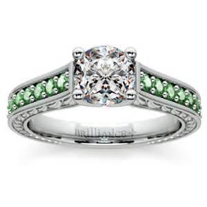 emerald gemstone engagement rings antique emerald gemstone engagement ring in platinum