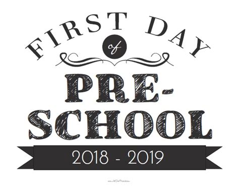 day of preschool sign free printable 745 | free printable first day of preschool sign