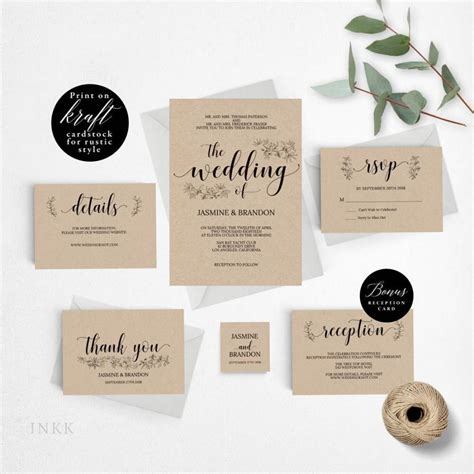 romantic rustic wedding invitation template wedding