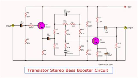 Transistor Stereo Bass Booster Circuit Projects