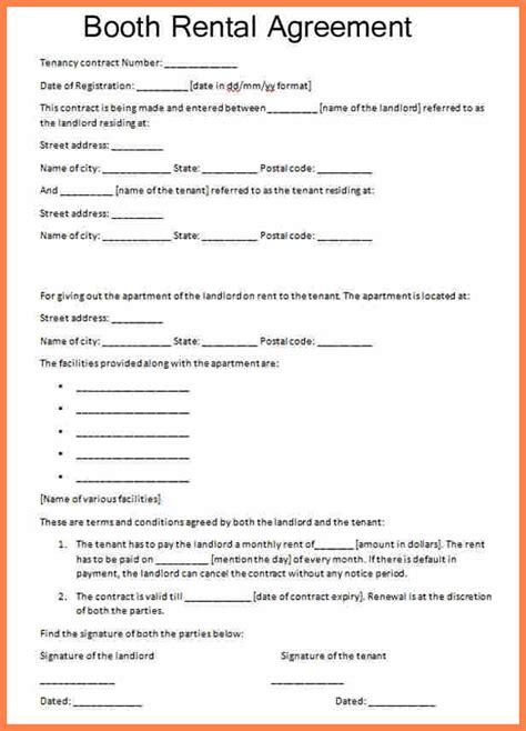 sample booth rental agreement hair salon purchase