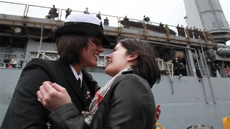 Navy First Same Sex Couple Share First Kiss At Homecoming