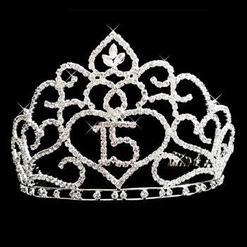 large rhinestone silver covered sweet sparkling silver rhinestone quinceaera sweet 15 headpiece