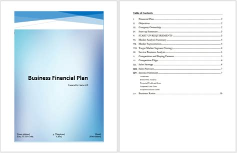 business financial plan template word templates
