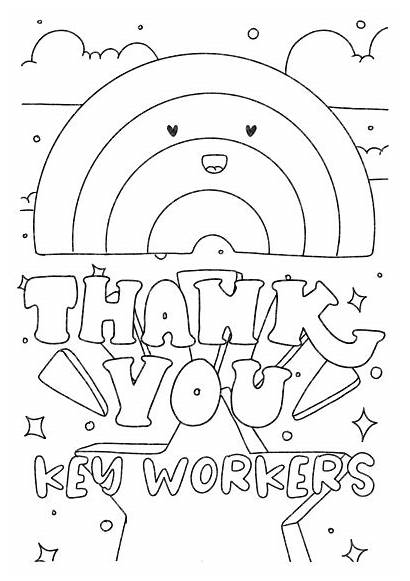 Key Thank Workers Colouring Poster