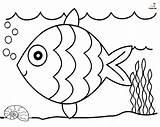 Fish Rainbow Coloring Printable Funsoke sketch template