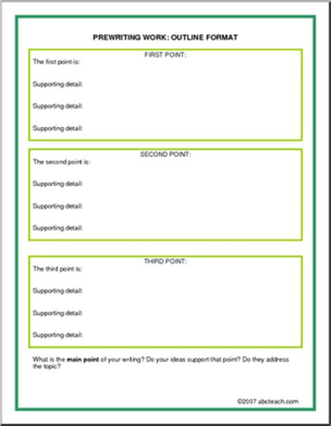 Prewriting Outline Template - Costumepartyrun