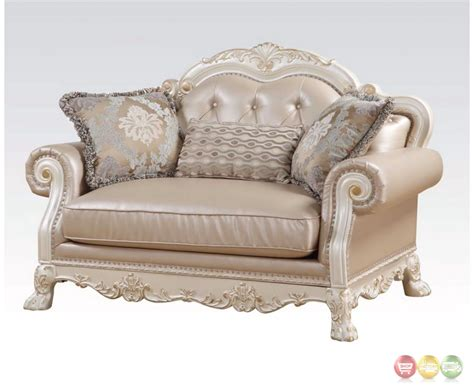 Tufted Loveseat by Dresden Formal Button Tufted Sofa Loveseat In Antique