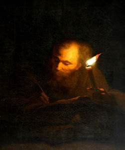 An Old Man writing a Book by Candlelight 290274 | National ...