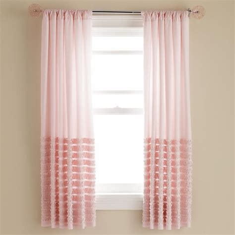 Light Pink Ruffle Blackout Curtains light pink multi ruffle curtain panels