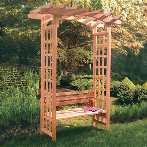 Arbor With Bench arboria astoria 7 ft cedar pergola arbor with bench