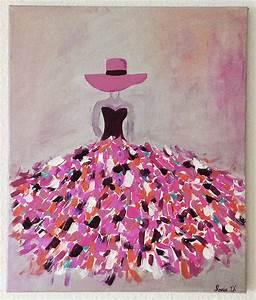Tableau Rose Et Gris : c 39 est un tableau moderne qui repr sente une femme dans une robe aux couleurs flamboyantes sur ~ Teatrodelosmanantiales.com Idées de Décoration