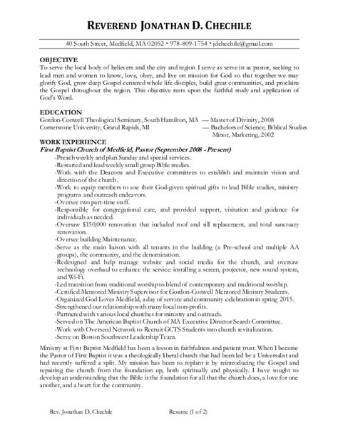 Church Resume Format by Jonathan Chechile Ministry Resume