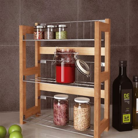 Wall Mount Spice Rack With Jars by 3 Tier Bamboo Wall Mounted Standing Spice Jar Rack Kitchen