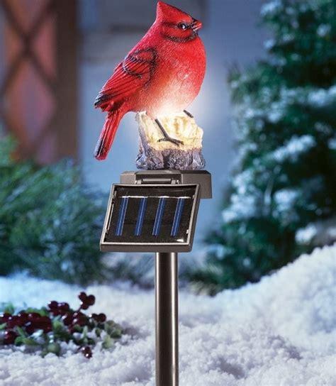 solar lighted cardinal outdoor stake christmas
