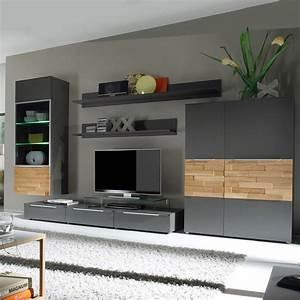 Moderne Wohnzimmer Schrankwand : wohnwand anbauwand schrankwand stone in eiche hell schlamm braun ebay ~ Markanthonyermac.com Haus und Dekorationen