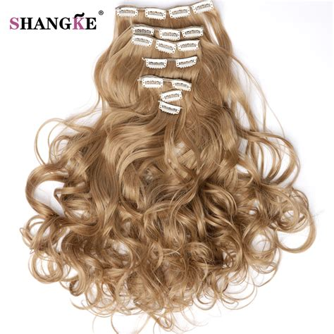 Shangke Long Curly Clip In Hair Extensions 7 Pcsset Whole