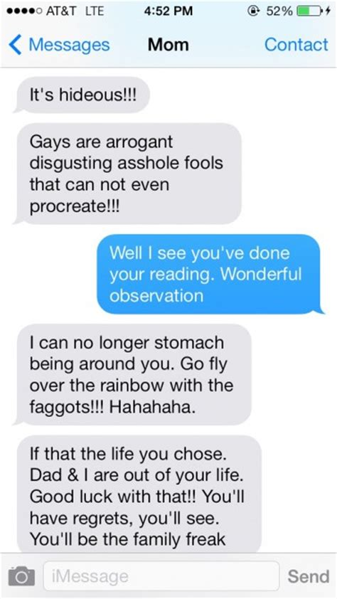 tumblr find texts   homophobic mom sick