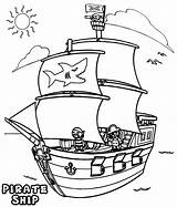 Pirate Ship Coloring Printable Template Adult Pirateship sketch template
