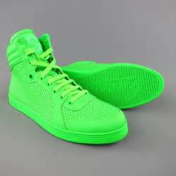 mens gucci size  neon green perforated leather coda high top sneakers  stdibs
