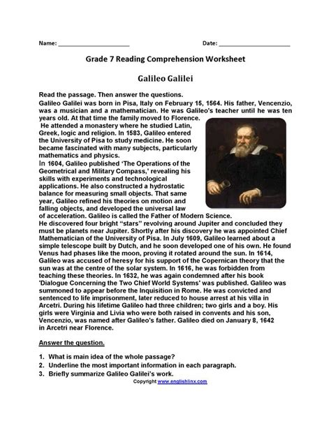 galileo galiliseventh grade reading worksheets grade
