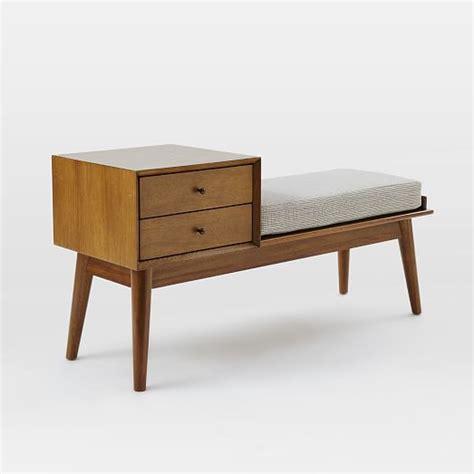 west elm bench table mid century storage bench acorn west elm