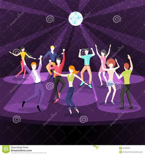 disco ball floor l people dancing in nightclub dance floor flat stock vector