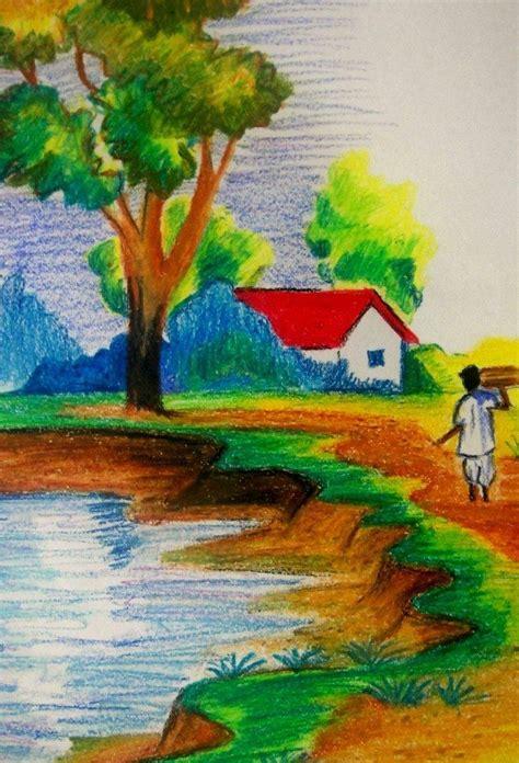 landscape drawings  kids  indian village scenery