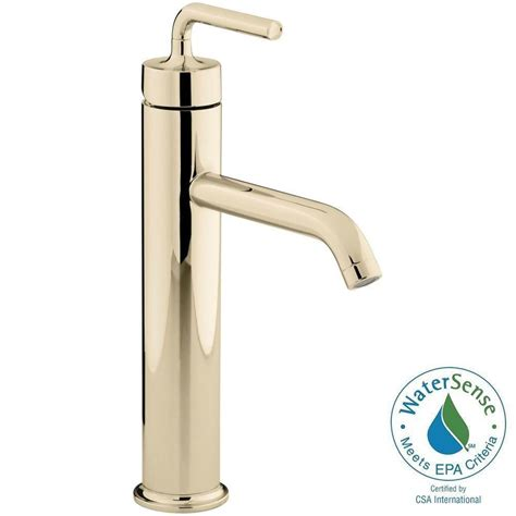 tall vessel sink faucet kohler purist tall 1 hole single handle low arc bathroom