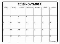 November 2019 calendar * November 2019 calendar printable